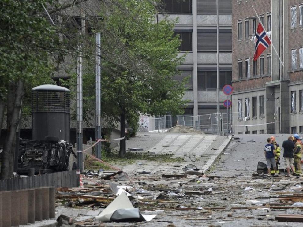 Numerosos desperfectos en el centro de Oslo por la bomba