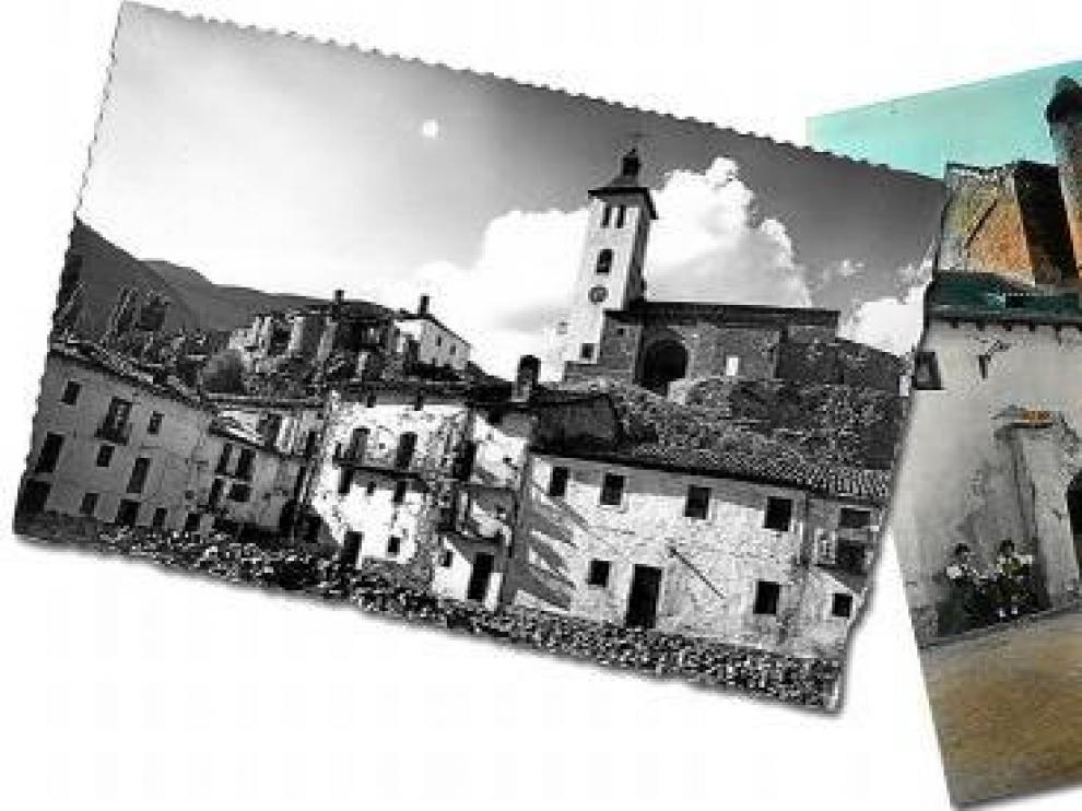 Postal troquelada de Biescas a la izquierda, una imagen de Hecho en el centro y la cabeza de sarrio a la derecha
