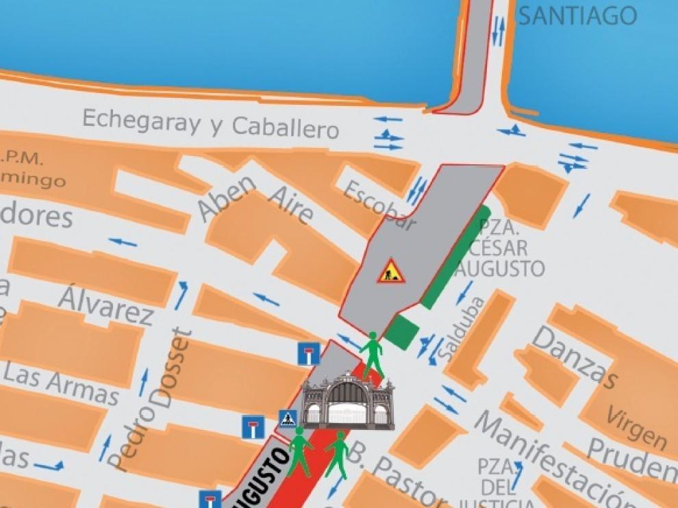 Mapa de los alrededores del Mercado Central de Zaragoza.