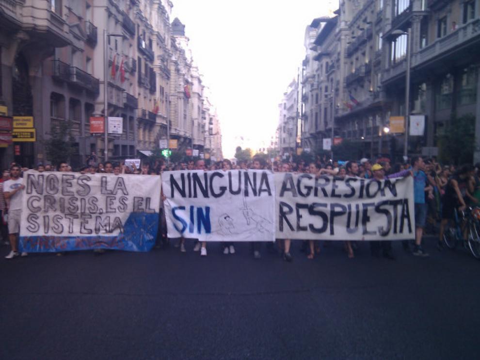 Imagen de la cabecera de la manifestación por el centro de Madrid