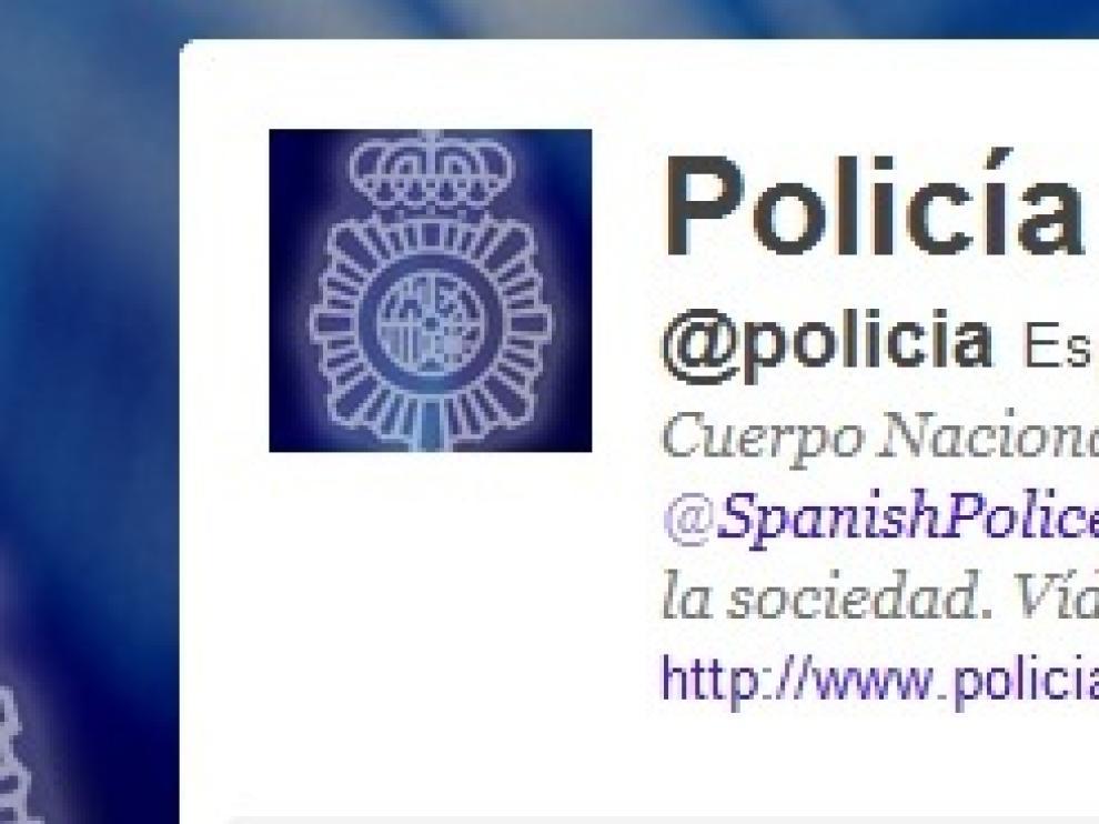 La cuenta en twitter de la Policía Nacional.