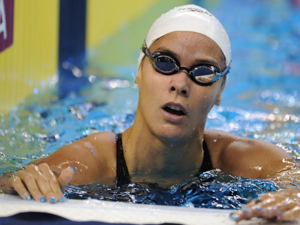 La nadadora española Mercedes Périz durante la prueba.