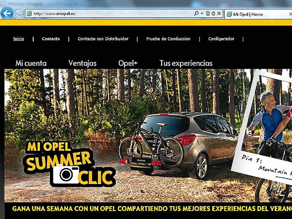 Aspecto de la página de inicio de la web.