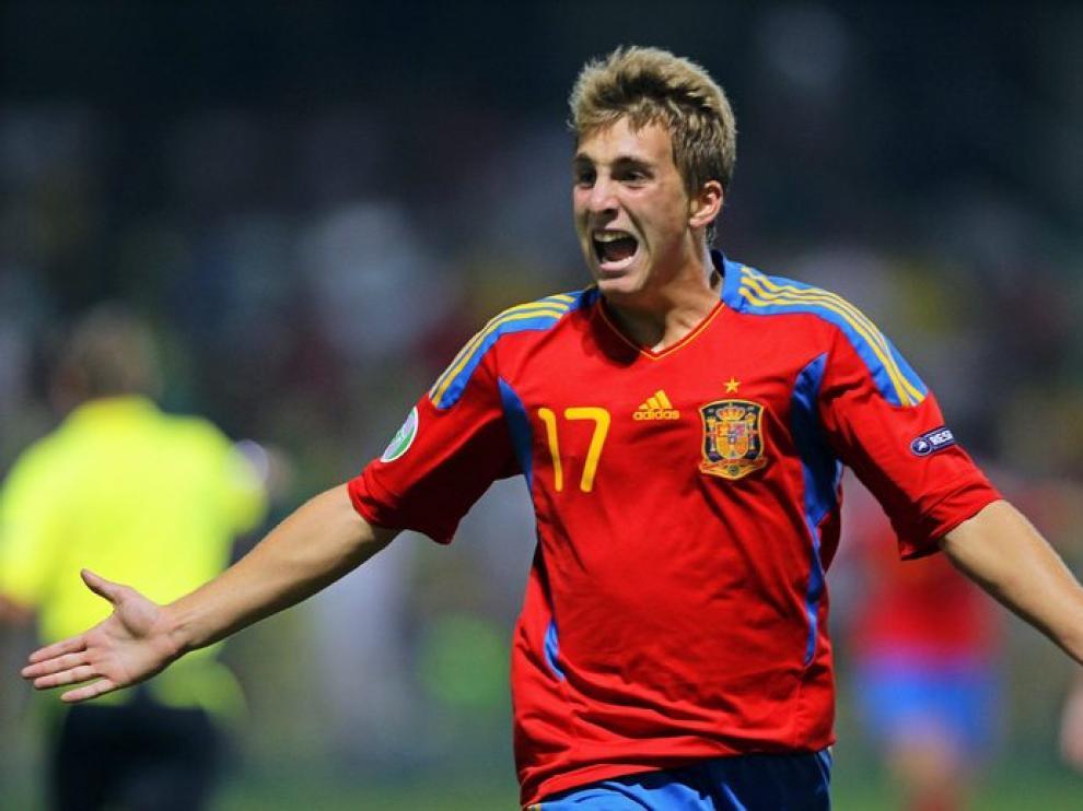 Deulofeu celebra tras marcar un gol
