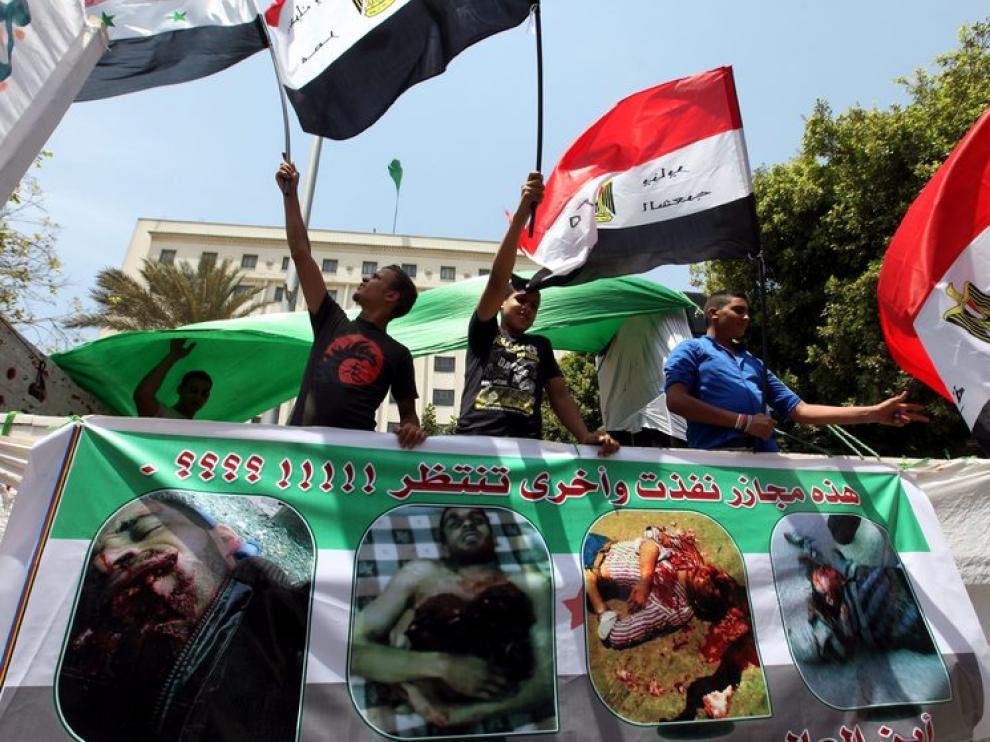 Protestas esta semana de sirios residentes en Egipto