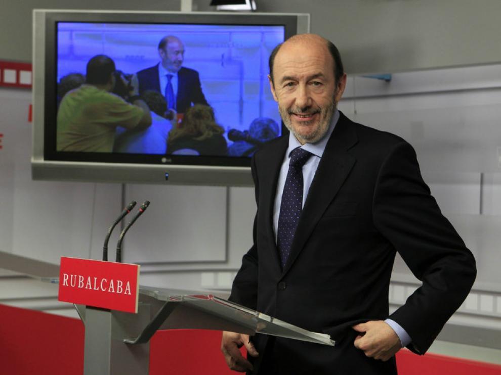 Pérez Rubalcaba, tras comparecer el viernes en la sede del PSOE