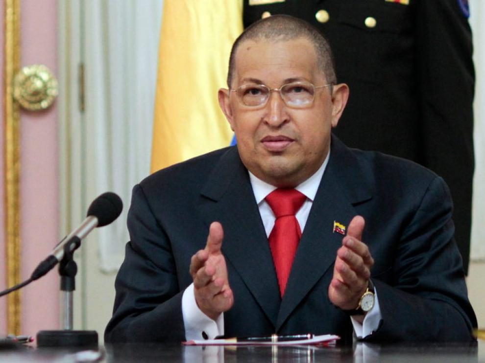 Chavez durante la toma de posesión de los nuevos ministros venezolanos