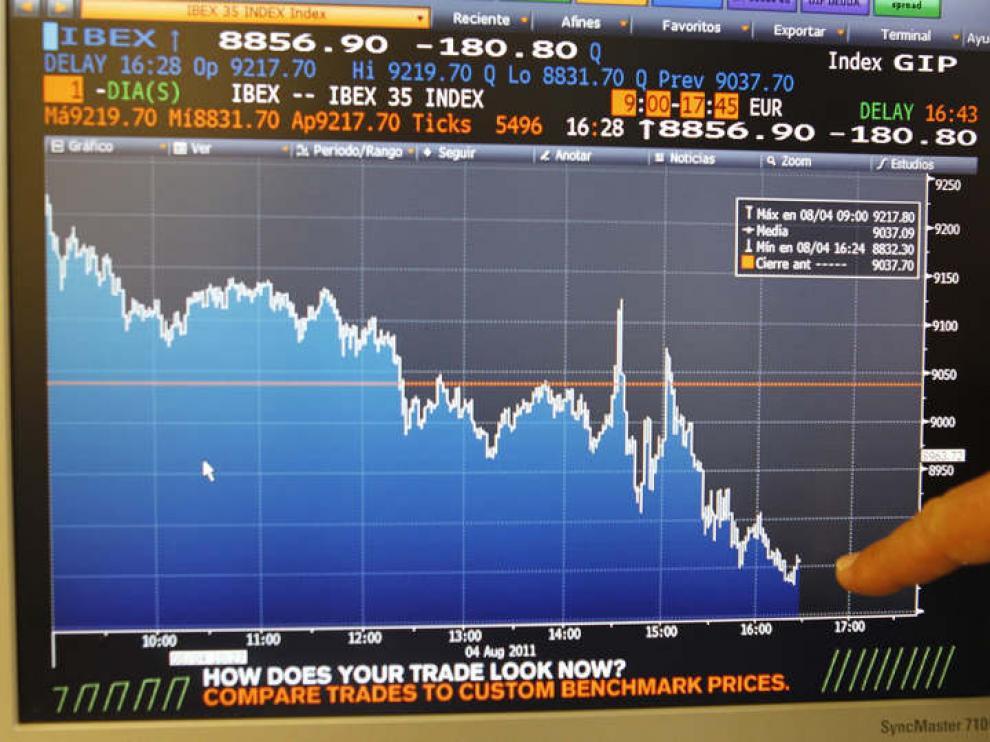 La Bolsa española bajaba más del 3 por ciento a media hora del cierre