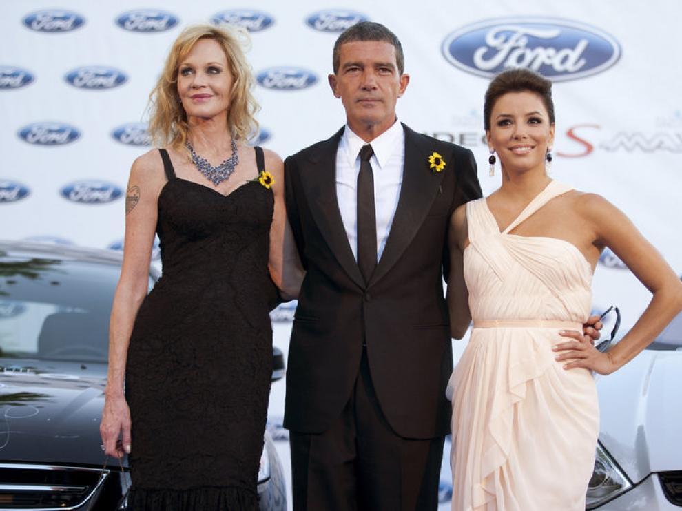 Antonio Banderas, junto a Melanie Griffith y Eva Longoria, en una imagen de archivo