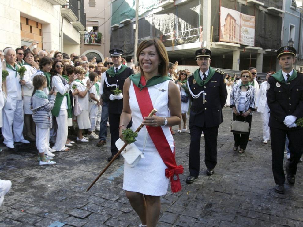 Ana Alós durante la procesión de San Lorenzo