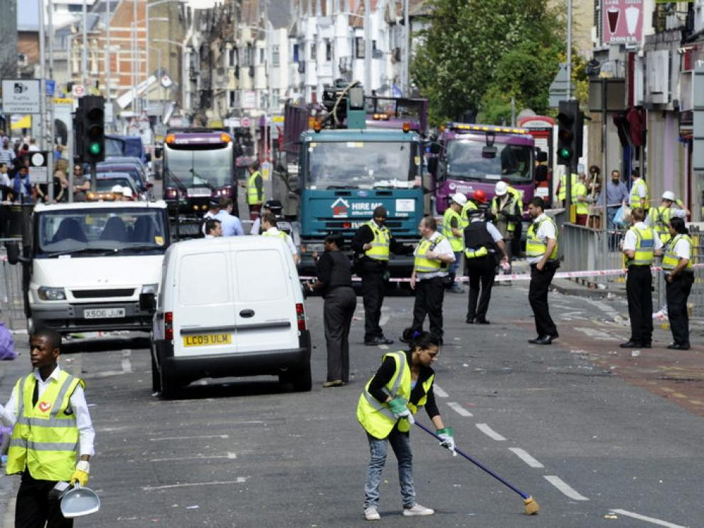 La huella de los disturbios es visible en varias calles de Londres