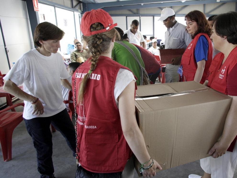 Los voluntarios tuvieron un papel destacado en la acogida de los miles de peregrinos.