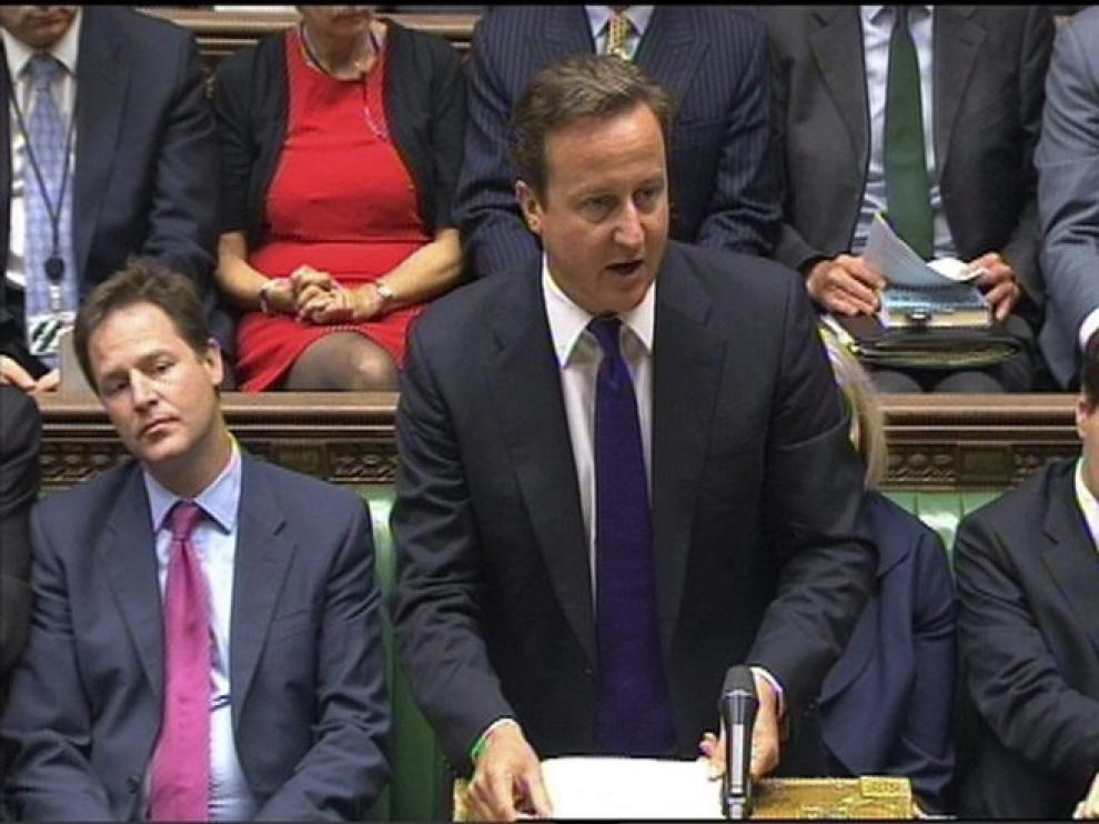David Cameron durante su comparecencia en el Parlamento