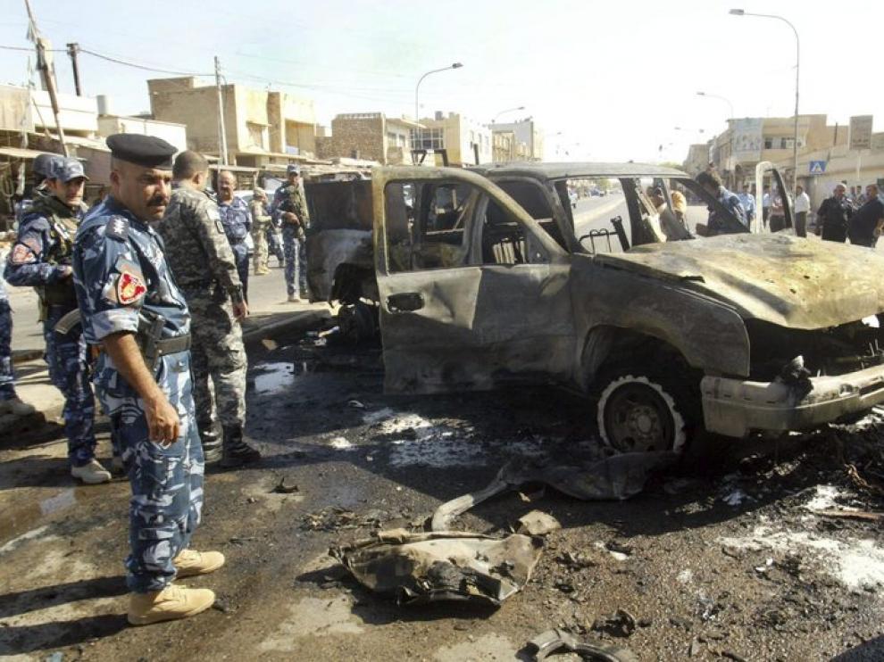 Lugar donde se ha producido el atentado en la ciudad de Kirkuk