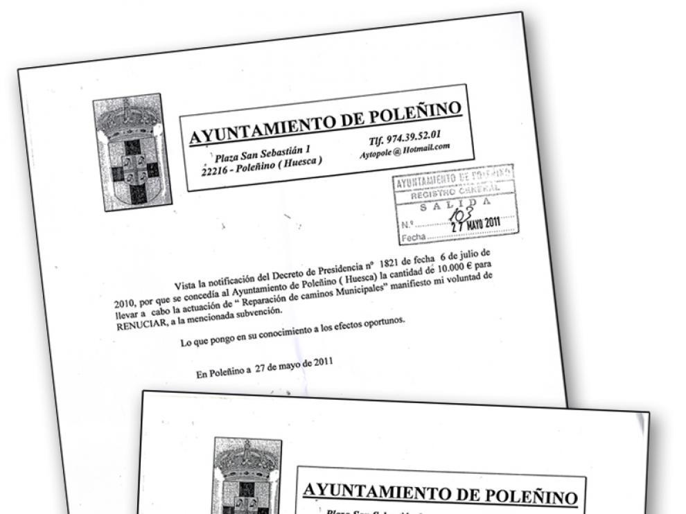 El nuevo equipo de gobierno ha enviado una copia de los tres escritos en los que Rodríguez renuncia a las subvenciones.