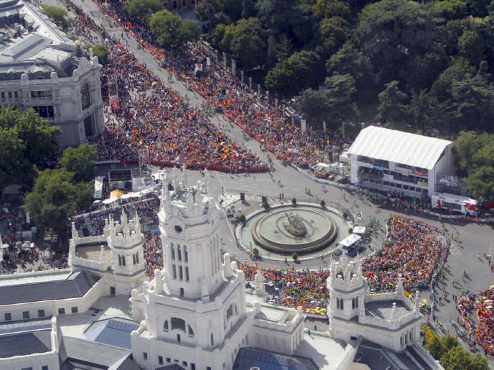 Imagen del Vía Crucis que ha presidido el Papa en la plaza de Cibeles
