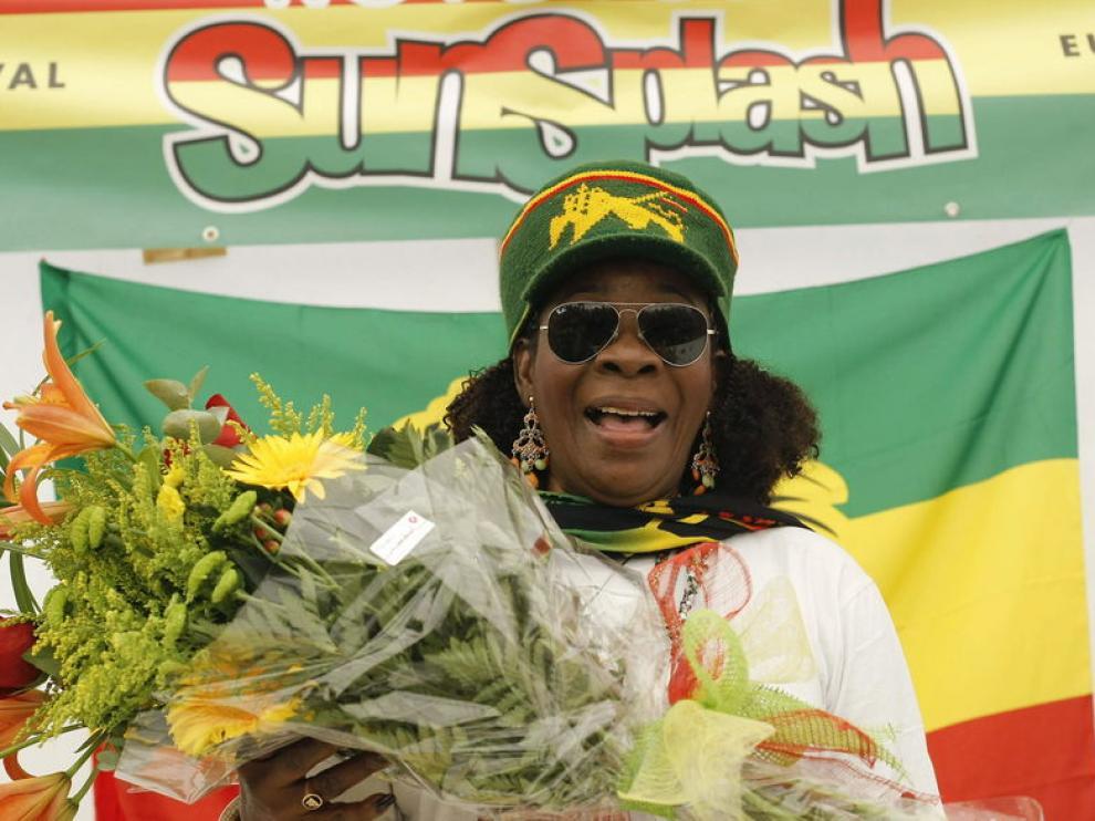Rita Marley, viuda del rey del reggae, en el festival Rototom de Benicasim