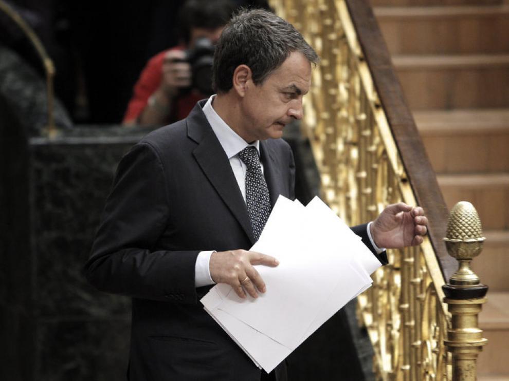 José Luis Rodríguez Zapatero, durante su intervención en el pleno extraordinario del Congreso.
