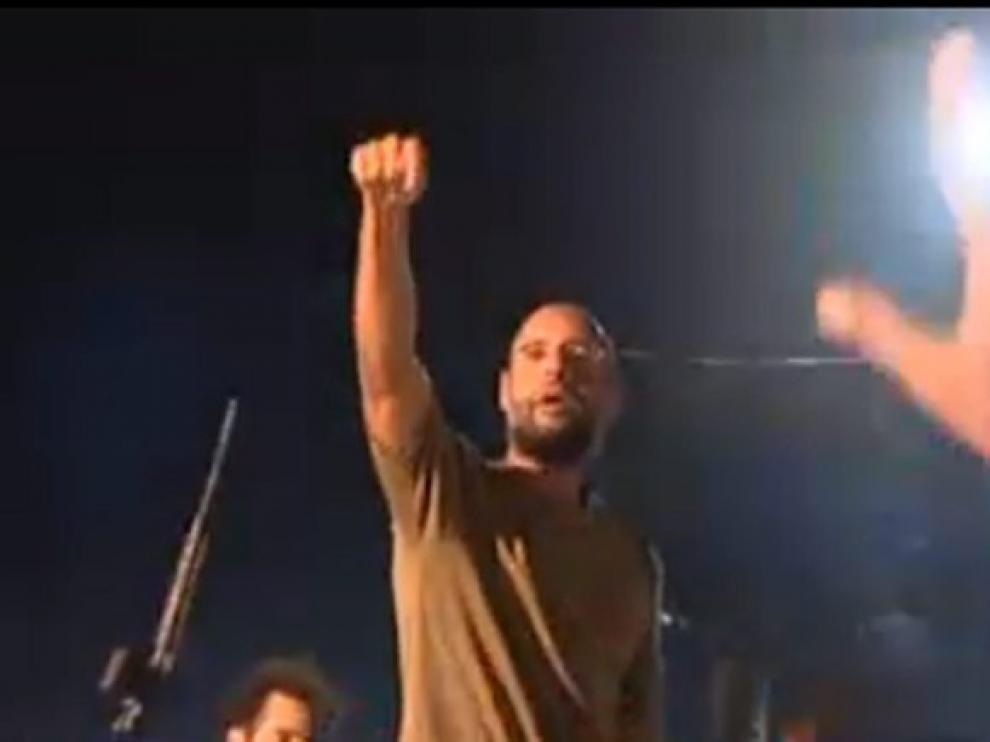 Imagen televisada del hijo de Gadafi, Saif al Islam