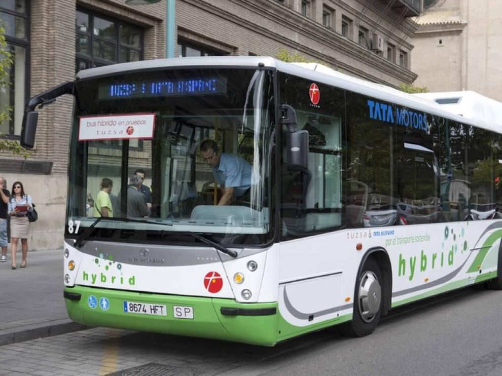 Autobús híbrido en Zaragoza.