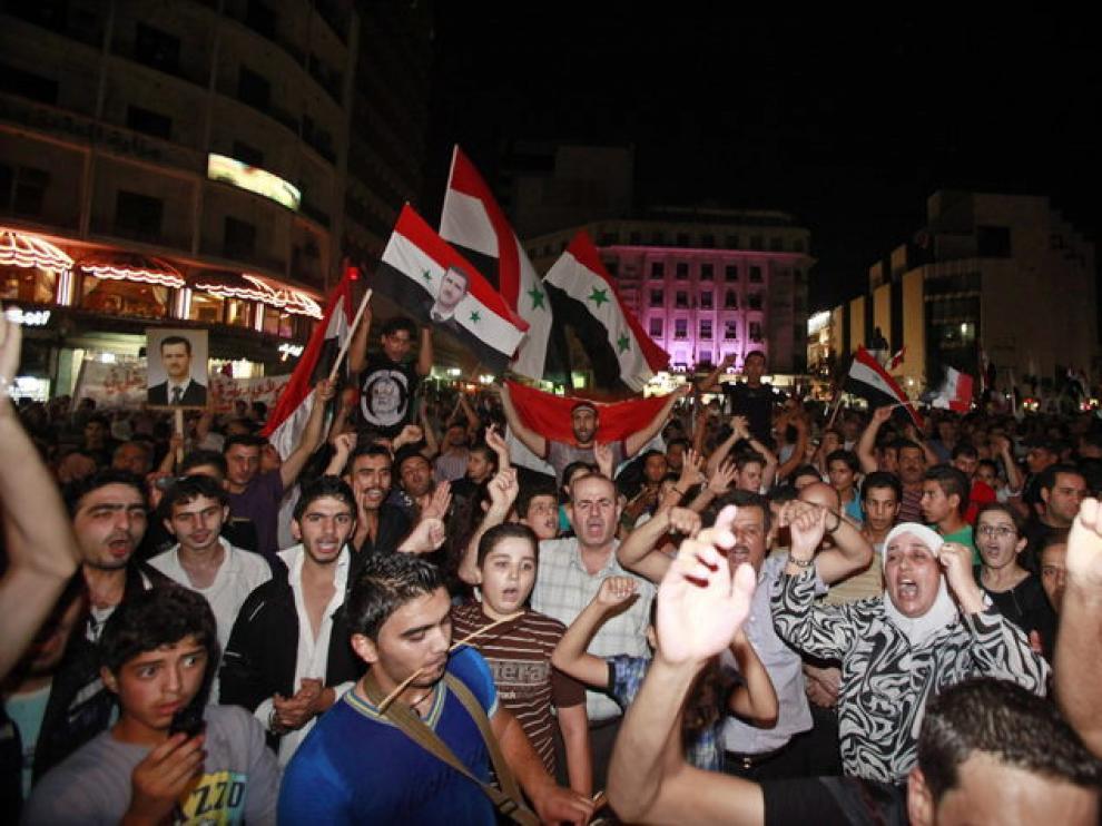Manifestantes sirios, el pasado lunes en el corazón de Damasco