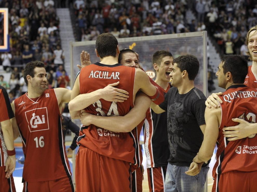 Varios jugadores del CAI Zaragoza en una imagen de la temporada pasada