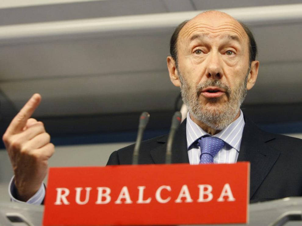 Rubalcaba, en rueda de prensa