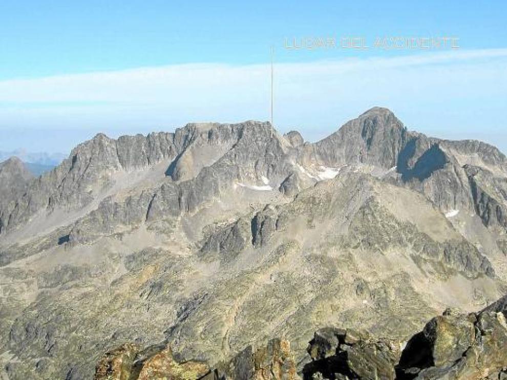 Imagen de la zona en la que los equipos de rescate hallaron ayer el cuerpo del montañero alemán.
