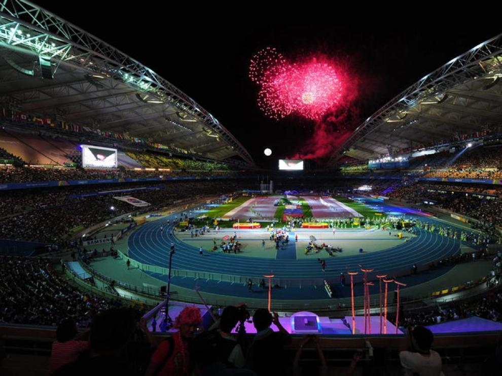 Momentos de la ceremonia de inauguración del Mundial de Atletismo en Daegu