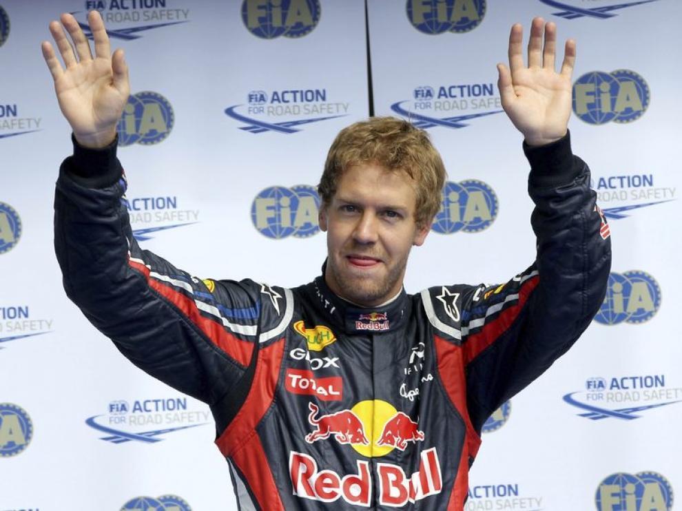 Vettel celebra la consecución de la 'pole'