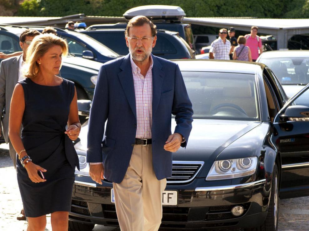 Los líderes populares María Dolores de Cospedal y Mariano Rajoy