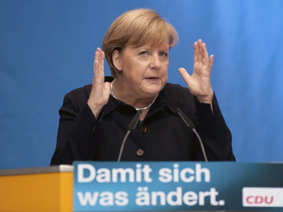 La canciller alemana Angela Merkel durante un acto electoral en Berlín