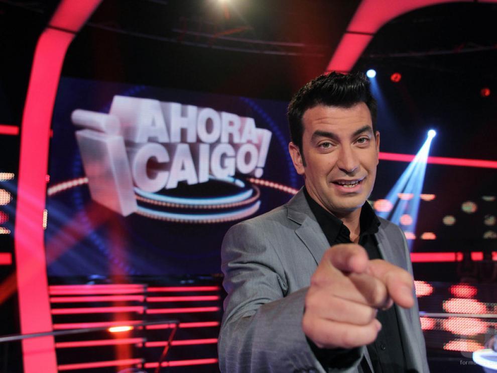 Arturo Valls en el plató de 'Ahora caigo!'