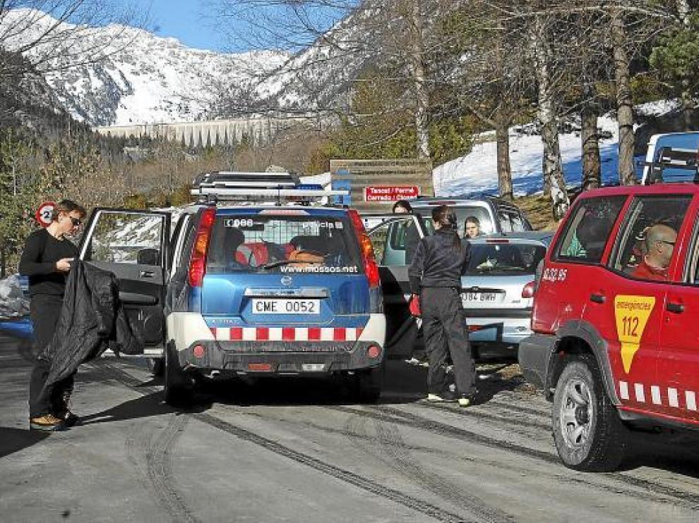Operación de rescate en Boi TauIl, en el Pirineo catalán, con intervención de los Bomberos.