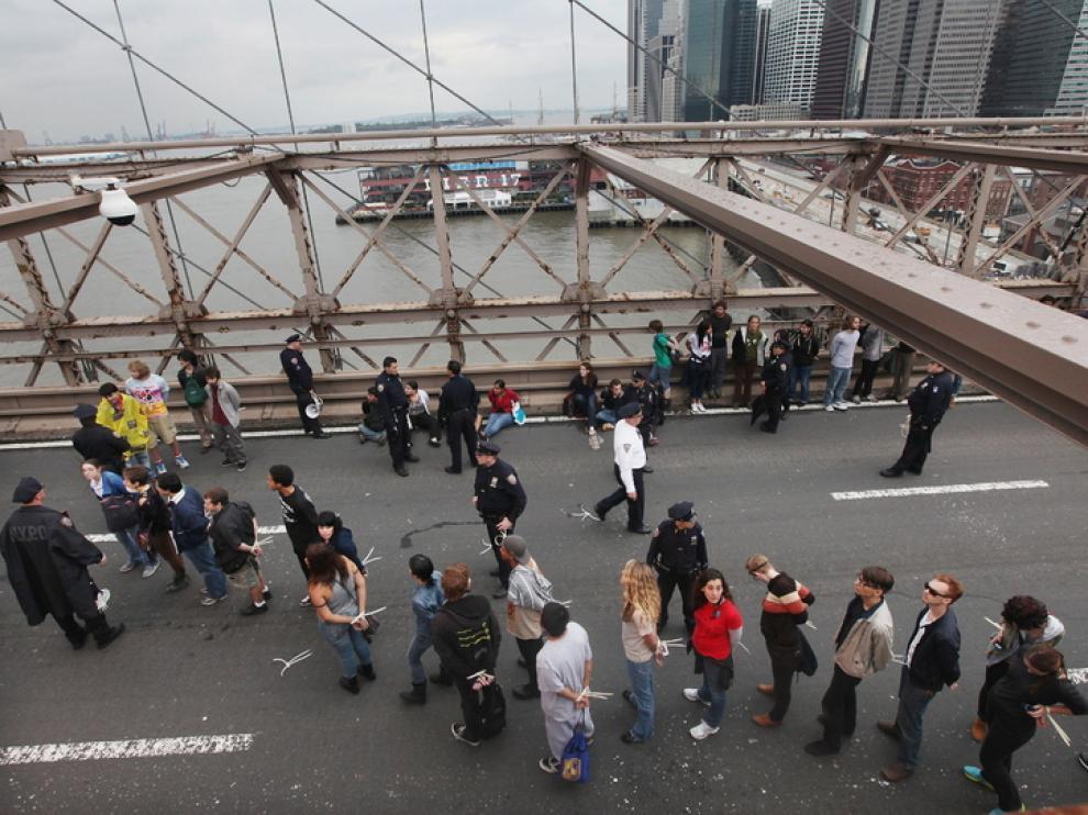 Manifestación contra Wall Street en las calles de Nueva York