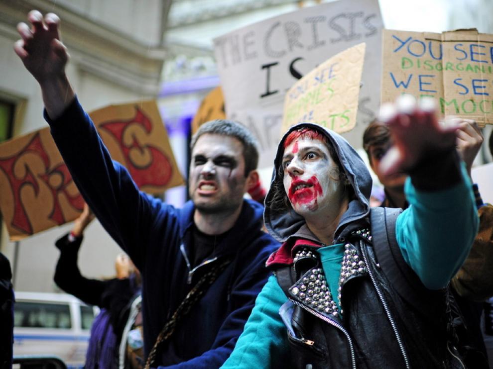 Los indignados 'zombis' marchan por Nueva York