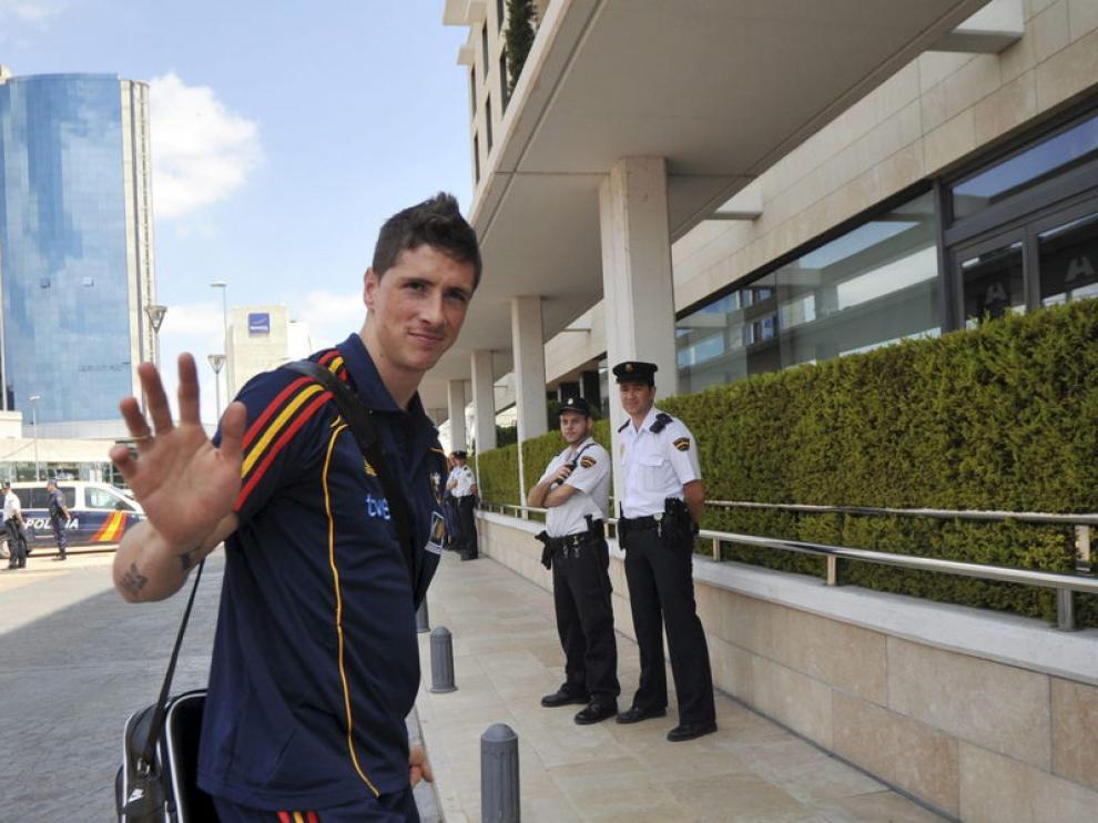 Torres, en su llegada al hotel
