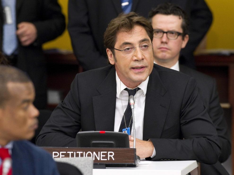 El actor español Javier Bardem en la sede de la ONU