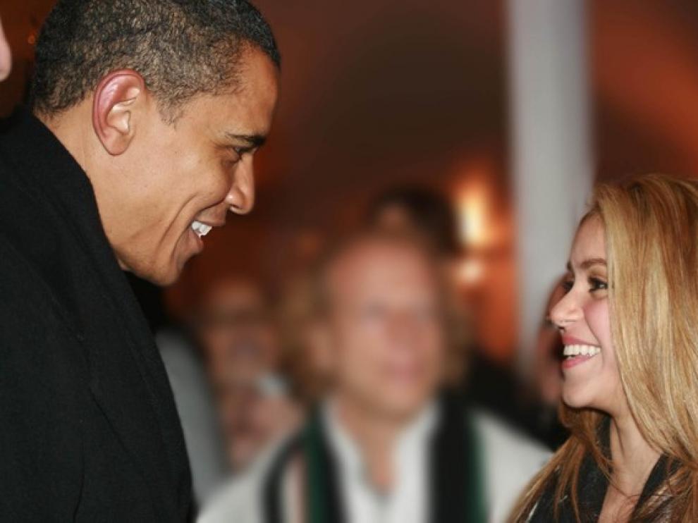 La cantante colombiana junto al presidente estadounidense