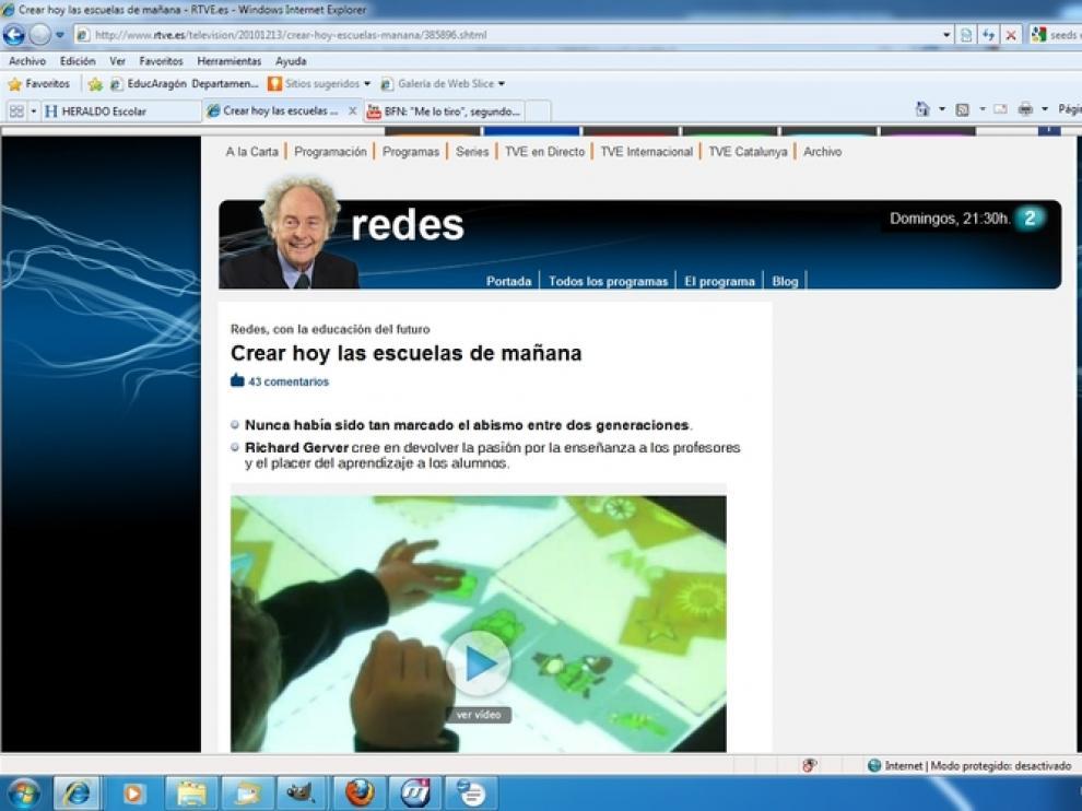 Página web del programa 'Redes'