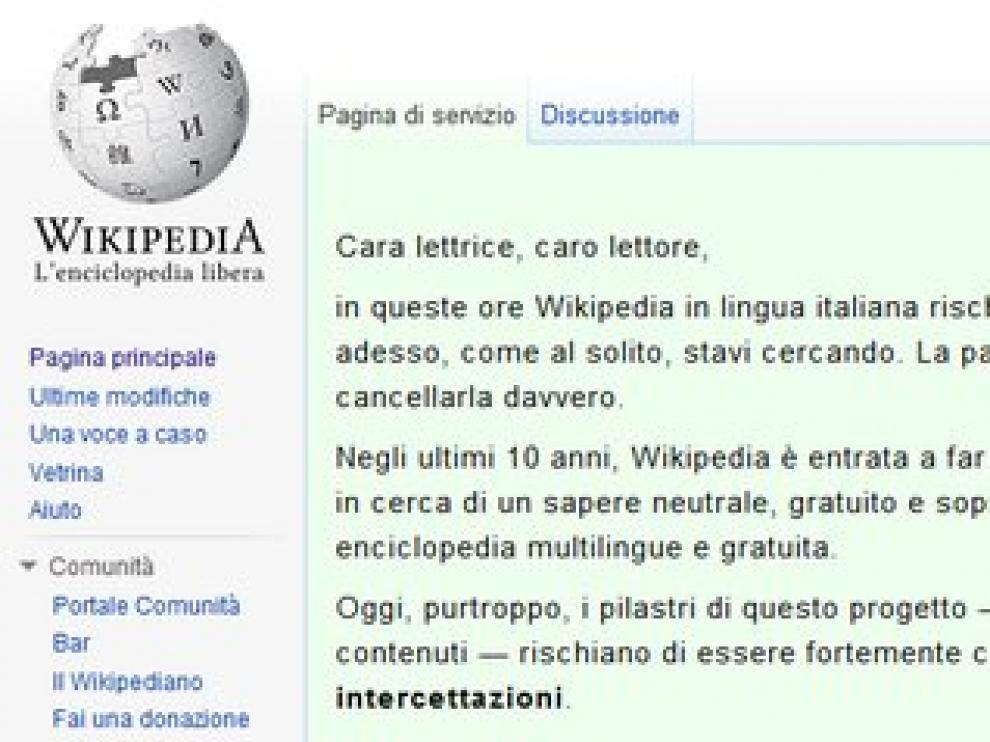Cierre de la web italiana de wikipedia