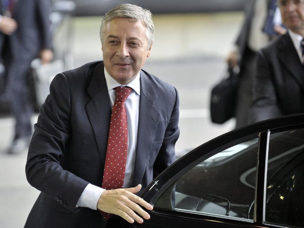 El ministro de Fomento, José Blanco, a su llegada a Luxemburgo