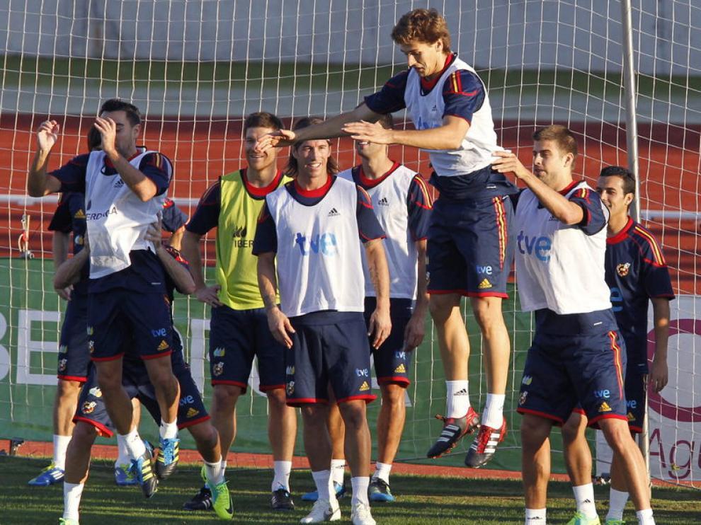 Los jugadores de la Selección en un entrenamiento