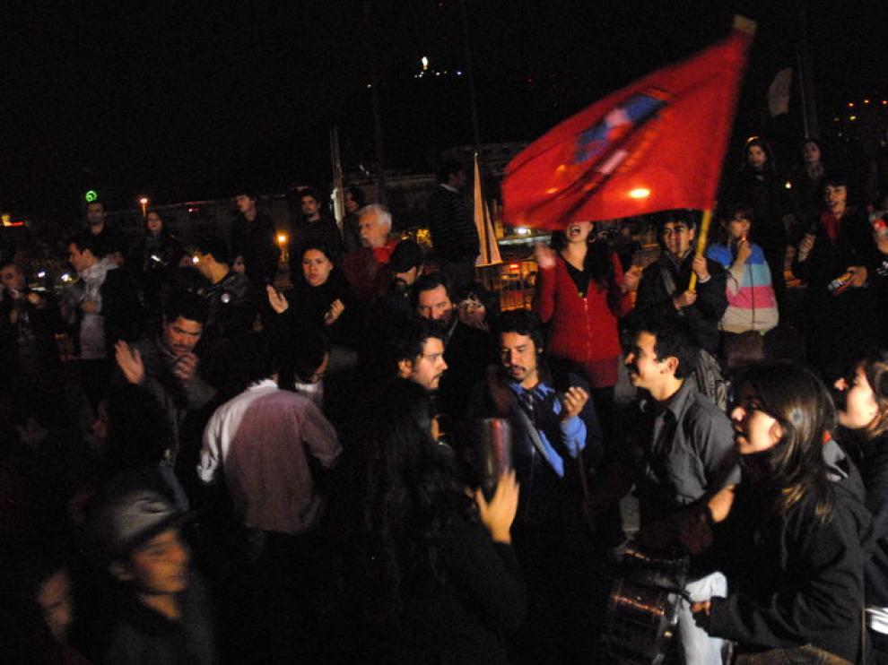 Protesta en las calles de Santiago de Chile