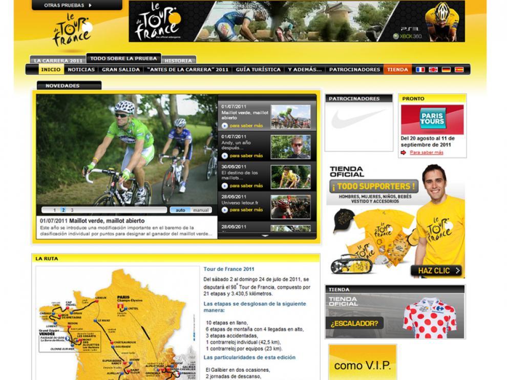 Captura de la web del Tour, esta tarde