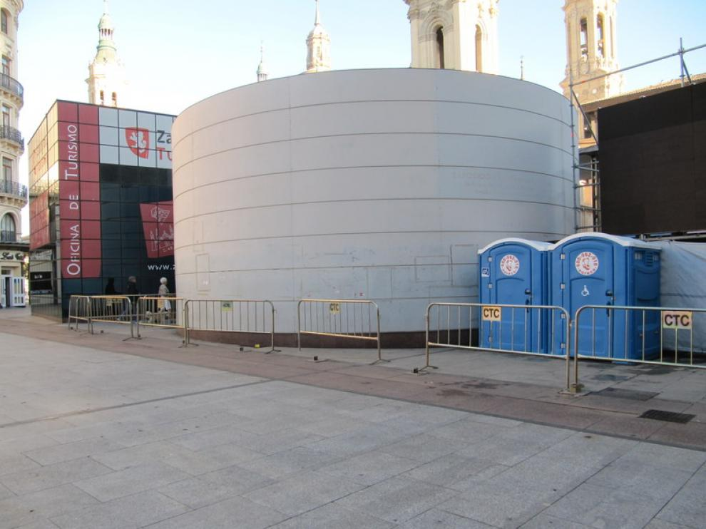 Lugar de la estación de Bizi de la plaza del Pilar, ahora desmontada