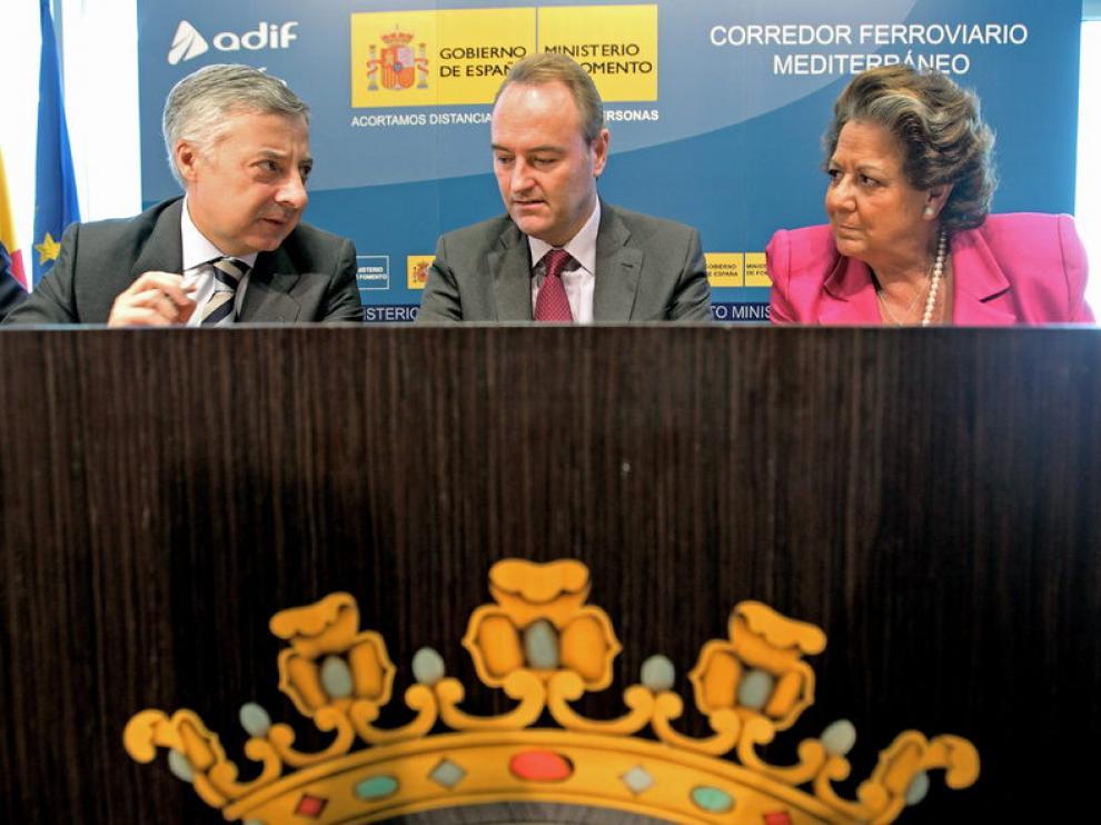 José Blanco, Alberto Fabra y Rita Barberá