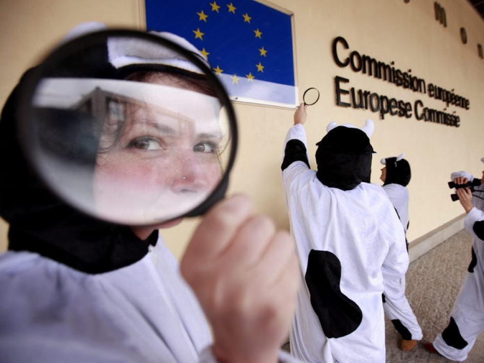 Activistas del grupo Friends of the Earth se visten de vacas para manifestar ante la CE en Bruselas, para presentar una nueva política agraria