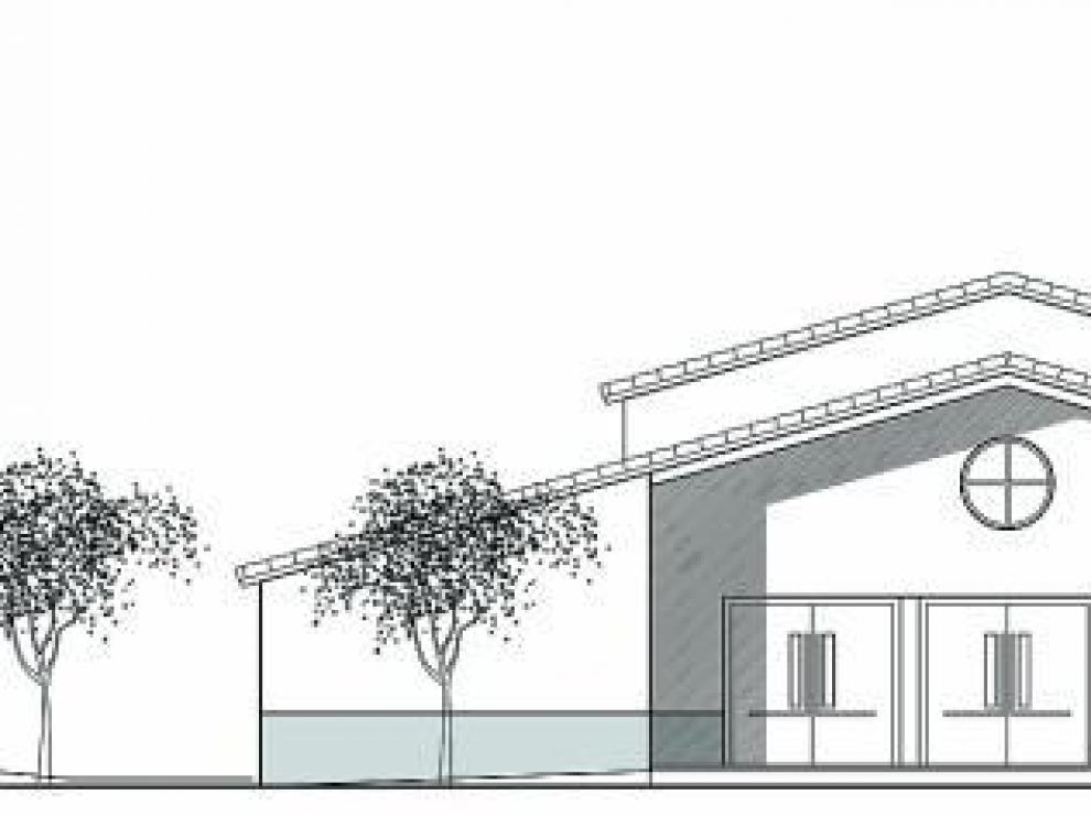 Imagen de la fachada del nuevo templo que se levantará al sur de los Olivos.