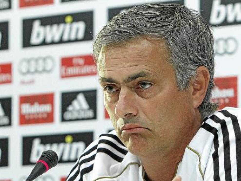 José Mourinho, entrenador del Real Madrid, en la rueda de prensa de ayer